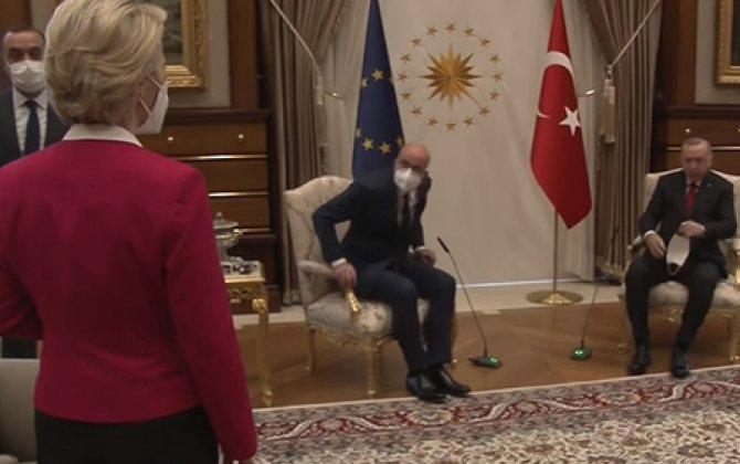 Avropa Komissiyasının sədri Ərdoğanla görüşdə pərt oldu - VİDEO