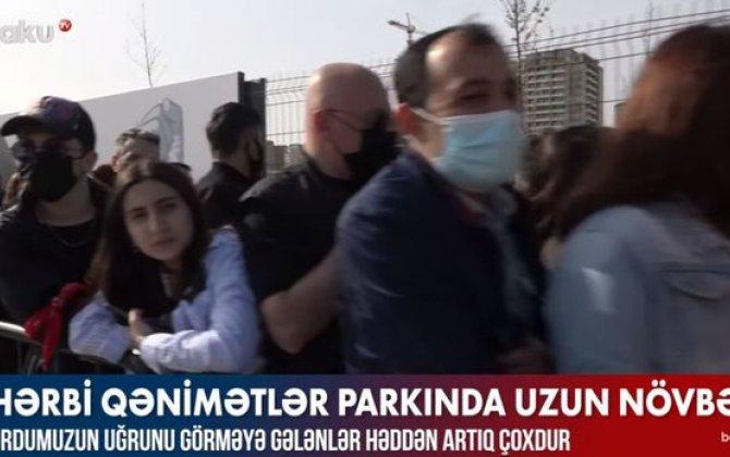 Hərbi Qənimətlər Parkına insan axını: Girişdə uzun növbə yarandı - VİDEO