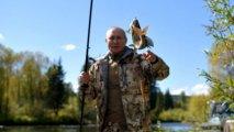 Putin Sibirdə balıq tutdu, tonqal qaladı - VİDEO