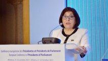 Sahibə Qafarova parlament sədrlərinin Avropa Konfransında çıxış edib - VİDEO